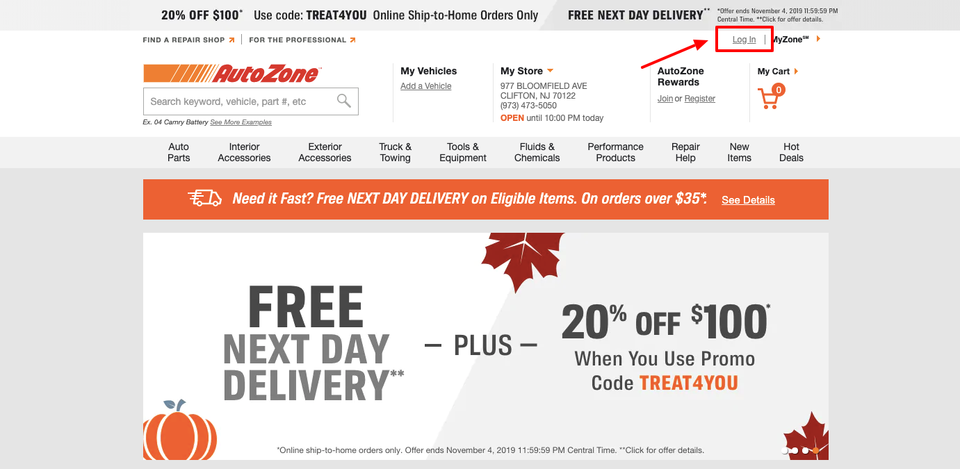 autozone rewards login