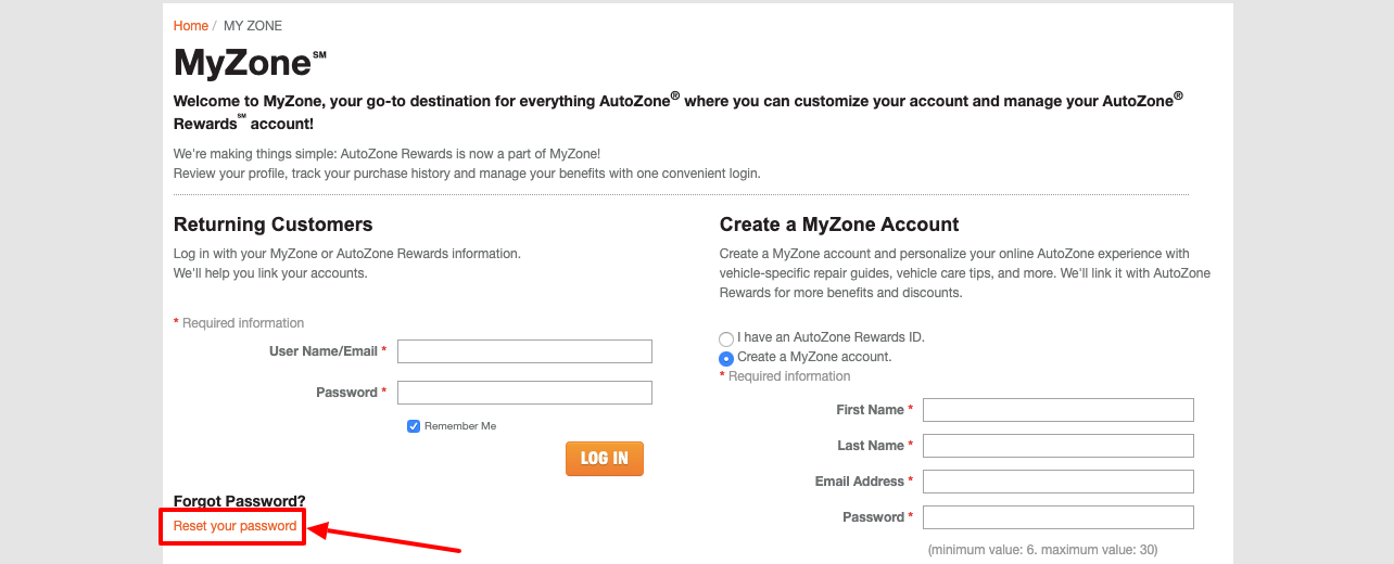 autozone rewards reset password