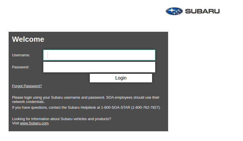 Subaru SSO Login