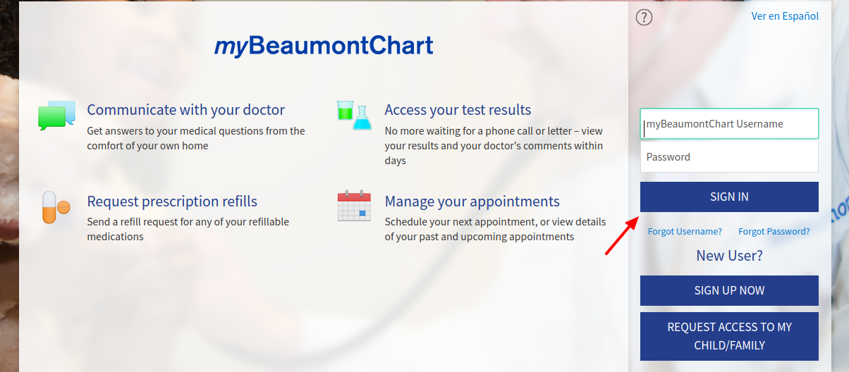 myBeaumontChart Login