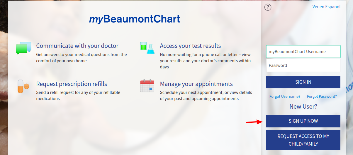 myBeaumontChart Sign Up
