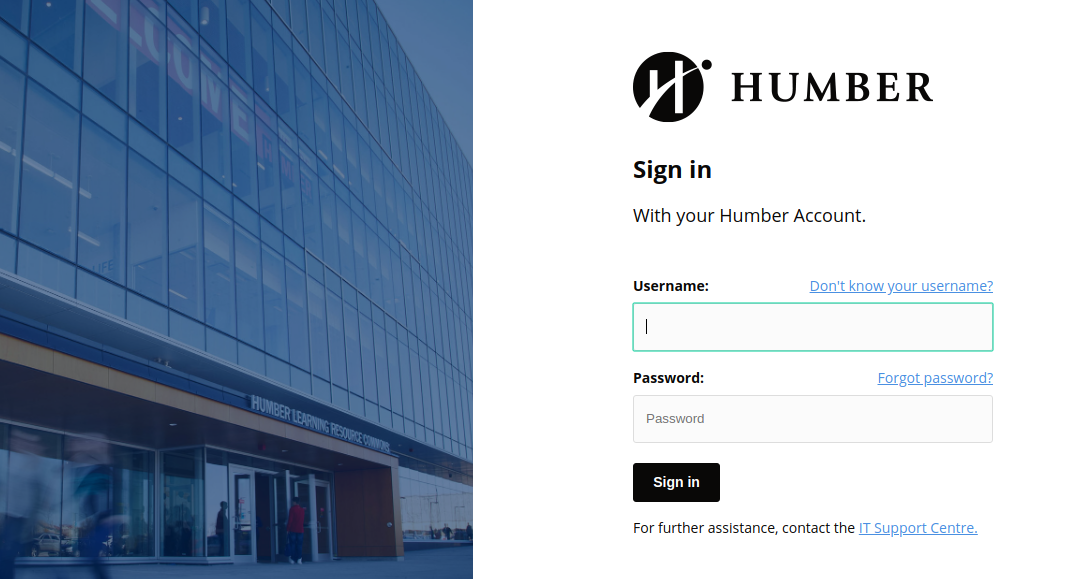 Humber Central Authentication Service Login