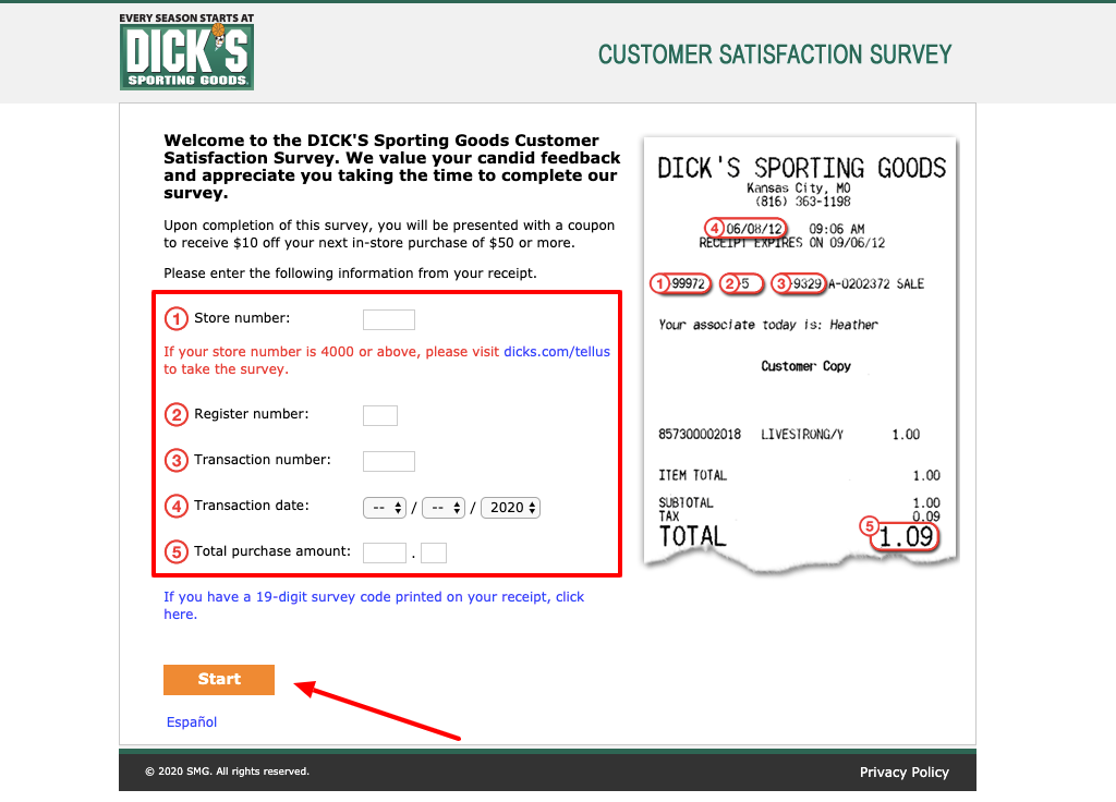 Dickssportinggoods Survey