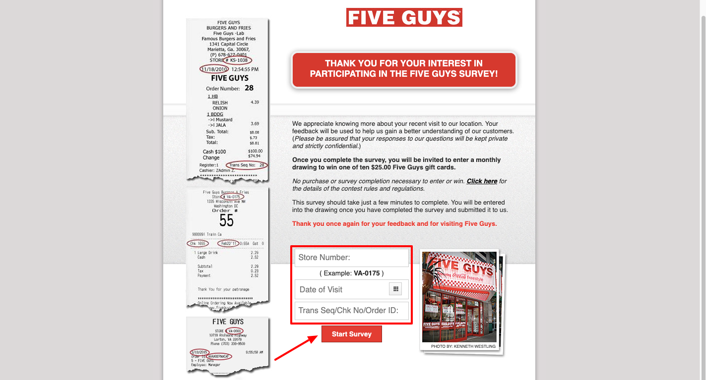 Five Guys Customer Satisfaction Survey