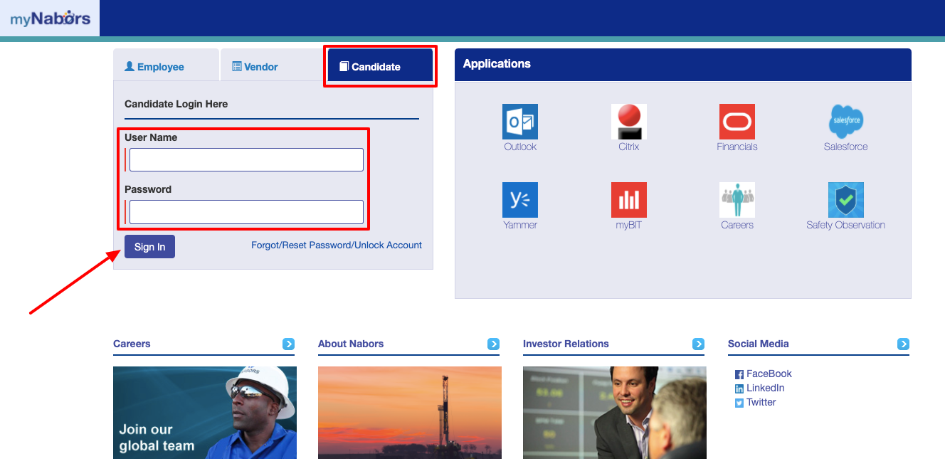 my Nabors Candidate login