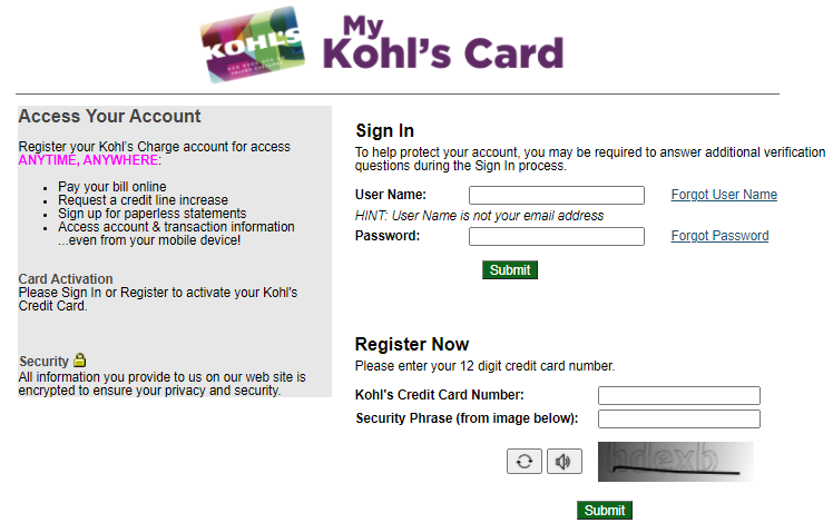Kohls Charge Bill Pay